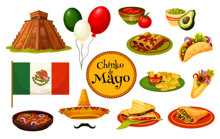 Cinco de Mayo Mexican holiday traditional symbol illustration.