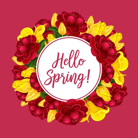 Vector lente bloemen boeketten wenskaart illustratie.