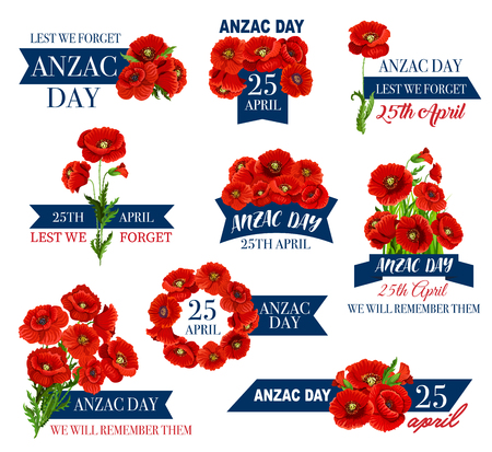 Anzac Day icon of poppy flower and memorial ribbon illustration.