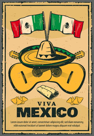Cinco de Mayo Mexican holiday vector sketch poster illustration.