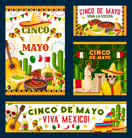Cinco de mayo mexicaine affiche conception de conception de fiesta . illustration Banque d'images - 97439661