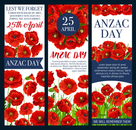Anzac, Lest We Forget banner with poppy flower illustration. Illustration