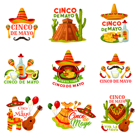 Cinco de Mayo fiesta party icon of Mexican holiday illustration.