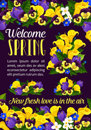 Welcome Spring Season greeting banner with flower illustration.