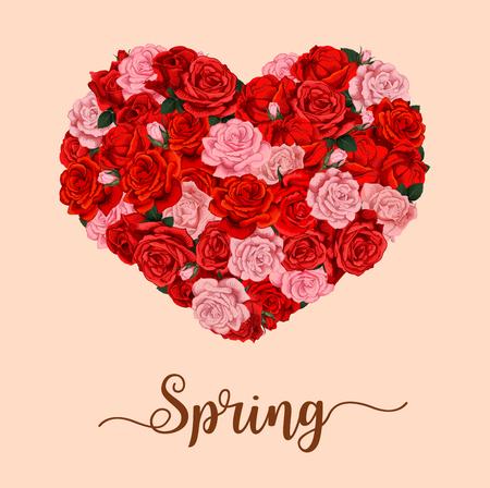 Vector spring season holiday flower heart poster illustration.