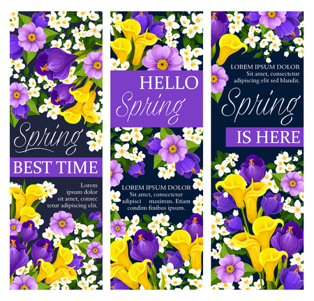 Vector springtime floral flowers bunch banners illustration. Illustration