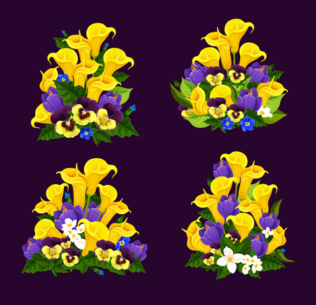 Spring flower icon with blooming floral bouquet illustration. Vettoriali
