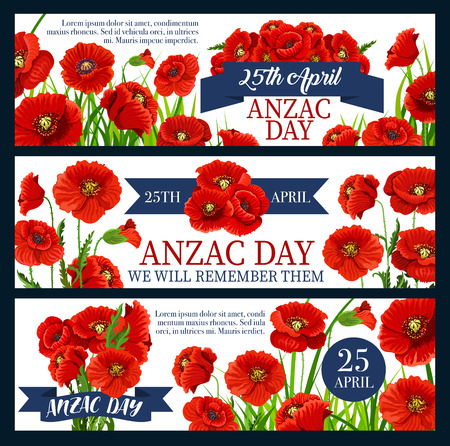 Anzac Day red poppy flower festive banner design illustration.