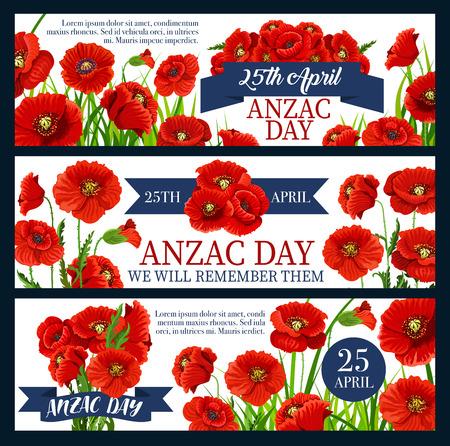 Anzac Day red poppy flower festive banner design illustration.
