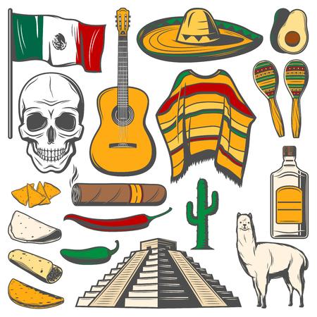 Mexican Cinco de Mayo vector fiesta sketch icons illustration. Stockfoto - 97552254