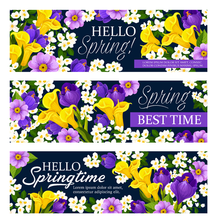 Vector springtime holiday greeting banners illustration.