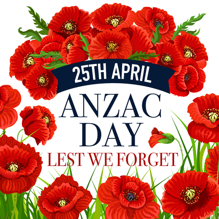 Anzac Day 25 April poppy vector greeting card illustration. Vectores