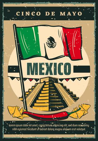Mexican holiday Cinco de Mayo vector sketch poster illustration.