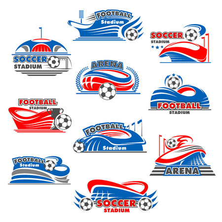 Soccer stadium icon of football sport building illustration.