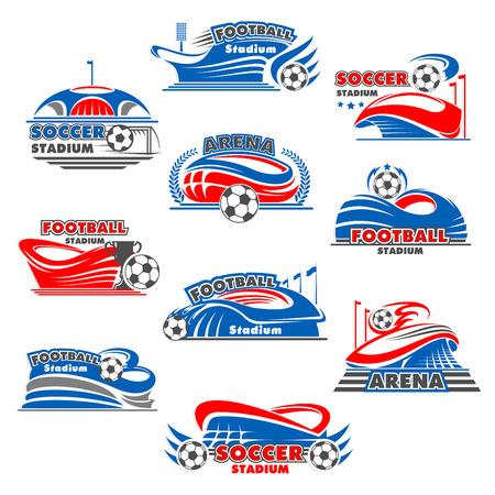 Soccer stadium icon of football sport building illustration.