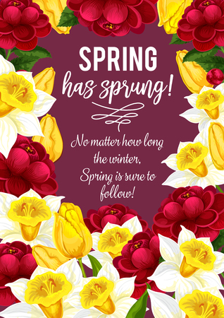 Vector springtime greeting card of spring flowers illustration.