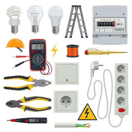 Electrician tools vector set illustration on whir background.