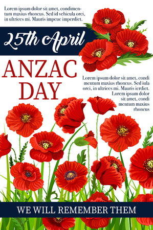Anzac Day 25 April poppy vector war memory poster illustration.