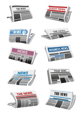 Newspaper 3d icon of folded news paper sheet illustration. 일러스트