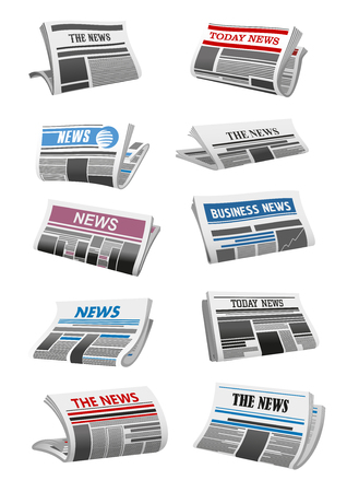 Newspaper 3d icon of folded news paper sheet illustration. Vectores