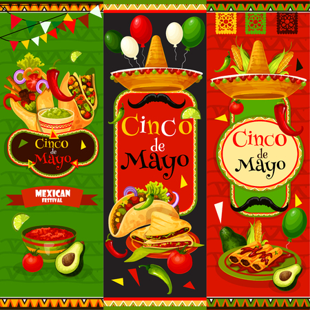 Mexican Cinco de Mayo vector fiesta banners illustration.