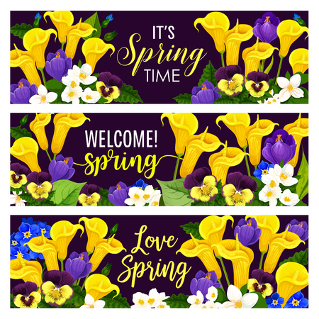 Spring Holiday floral banner with blooming flower illustration. Stock fotó - 97440608