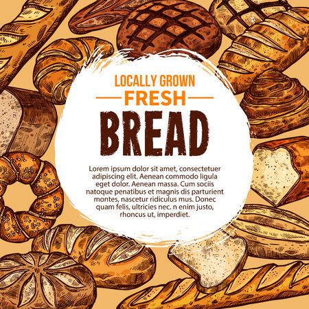 Vector poster with fresh bread vector illustration.