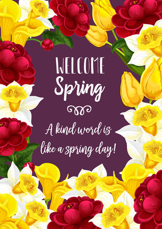 Vector spring time blooming flowers greeting card illustration. Ilustracja
