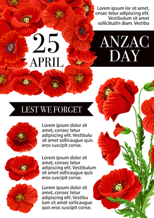 Anzac Day Lest We Forget holiday vector poster illustration. Vettoriali