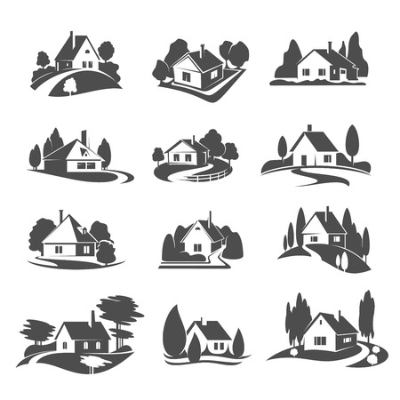 Vector icons of house for real estate company illustration. Illustration