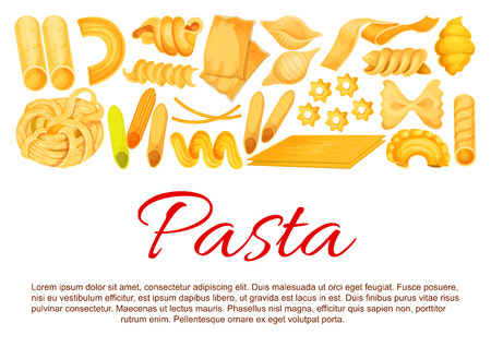 Vector Italian pasta sorts poster illustration.