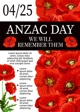 Anzac Day, Lest We Forget remembrance vector poster illustration.