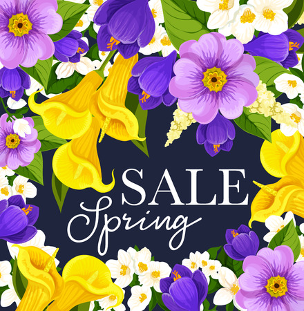 Vector springtime sale floral flowers bunch poster illustration.