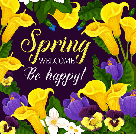 Spring Holiday greeting card with flower frame illustration. Stock fotó - 97441866