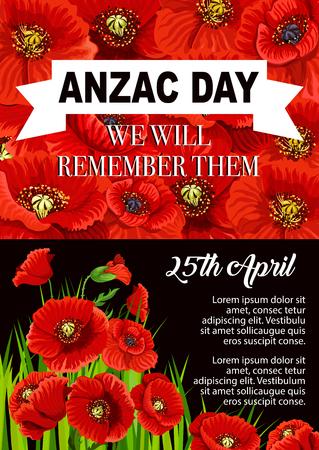 Anzac Day poppy flower memorial poster design illustration.