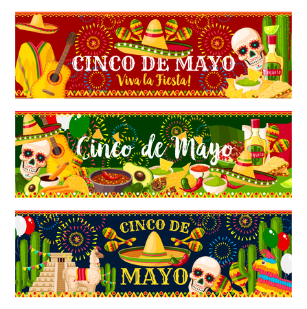 Mexican Cinco de Mayo vector fiesta banners Banco de Imagens - 97420487