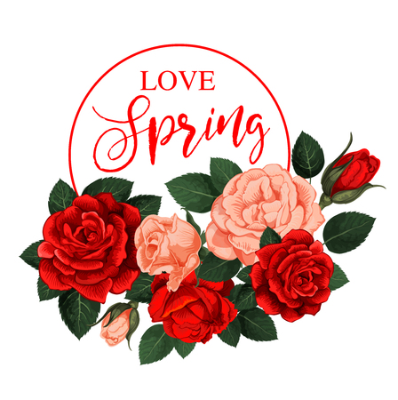 Vector rose flowers for spring holiday quote