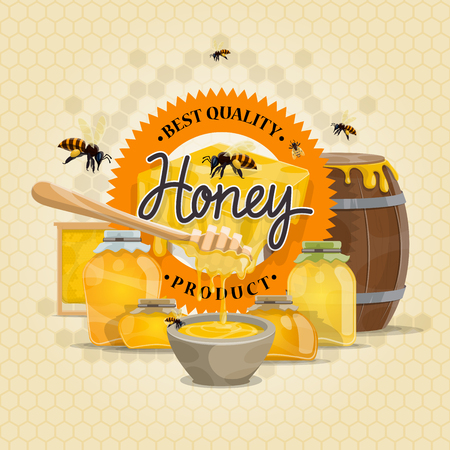 Honey product vector bees design