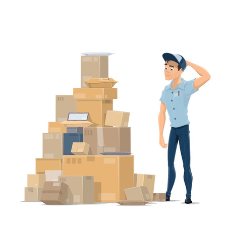Postpakketten en postbode vector platte pictogram