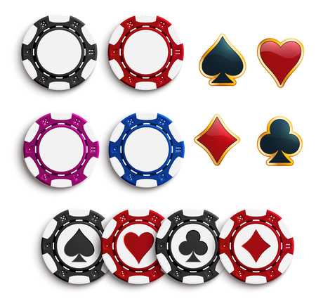 Vector casino poker gambling chips icons