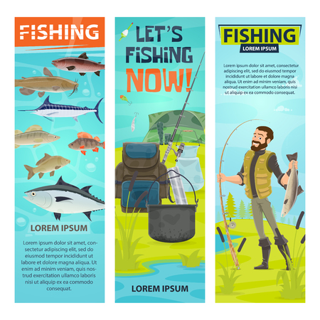 Vector fisherman and fishing equipment banners set