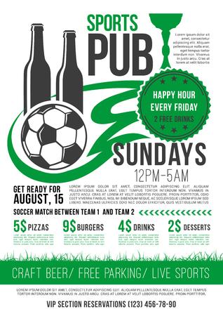 A Vector soccer sports bar football pub menu design Illustration