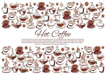 Vector coffeehouse poster of coffee cups and beans