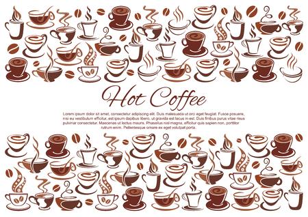 Vector koffiehuis poster van koffie kopjes en bonen Stockfoto - 97640736