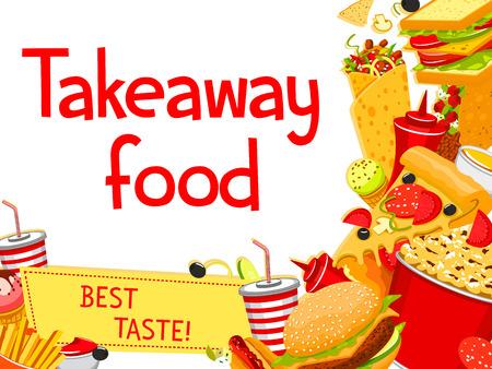Vector fast food takeaway menu poster design