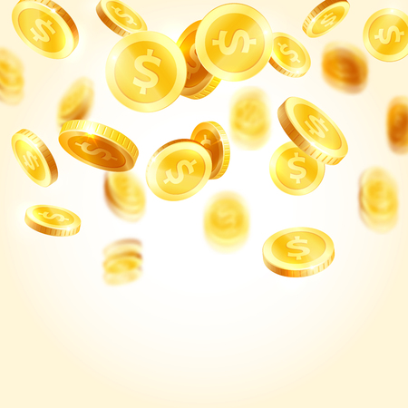 Vector golden coins splash icons