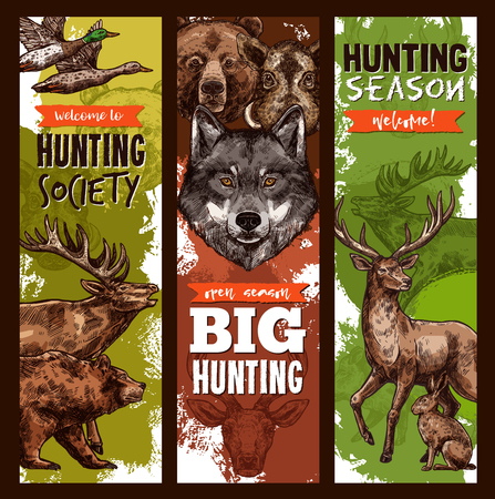A Vector hunt club hunting sketch banners Illustration