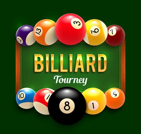 Pool billiards vector tourney poster