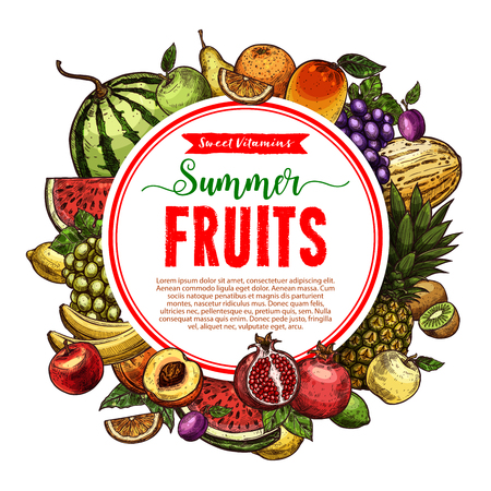 Vector sketch fruit store poster of farm fruits Stock Vector - 97758716