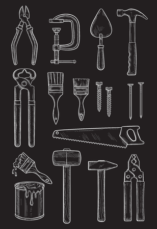 Vector work tools for home repair sketch icons set Illusztráció